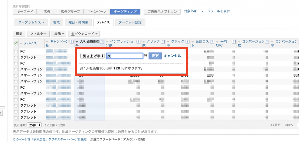 Yahoo!広告入札単価調整画面
